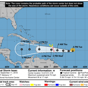 203538 5day cone no line and wind 300x300 1 - Boletín Tormenta Tropical Isaac, martes 11 de septiembre de 2018, 5:00pm