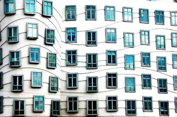 Frank Gehry's Dancing House windows. by http://www.mounirzok.com