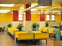 Pin Contoured-restaurant-booth-seating-in-a-fast-food-you ...