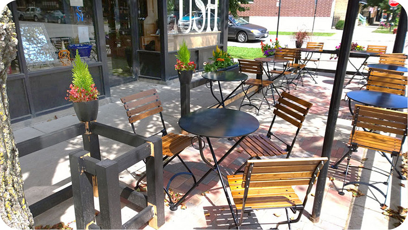 outdoor french bistro chairs baby relax lainey graphite grey wingback chair and a half rocker reproduction cafe folding side walnut stained 19th century installation chicago