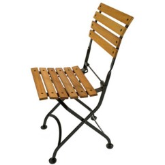Outdoor French Bistro Chairs Ergonomic Chair Specifications 19th Century Reproduction Cafe Folding Side Teak Front View P504t