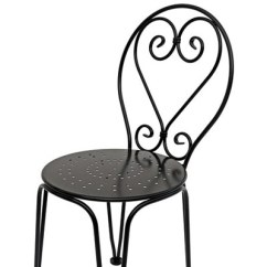 Wrought Iron Chair Solid Wood Pub Table And Chairs French Style Ice Cream Ornate Side Detail