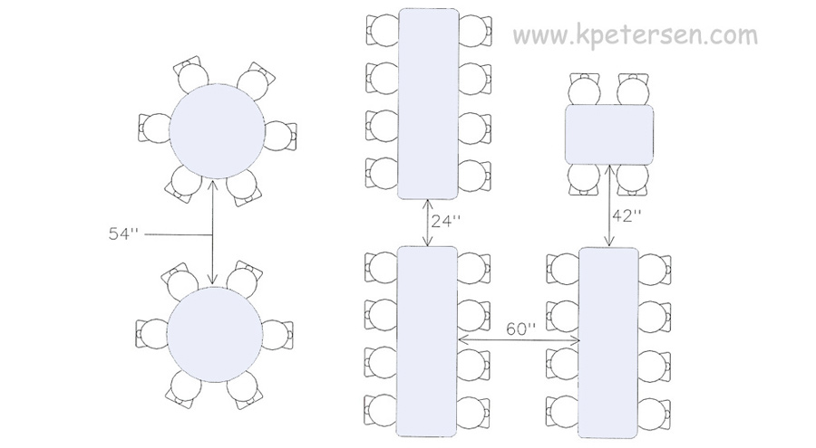 banquet table set up diagram cat 5 telefon tables what size do you need room cafeteria aisle spacing drawing plan view