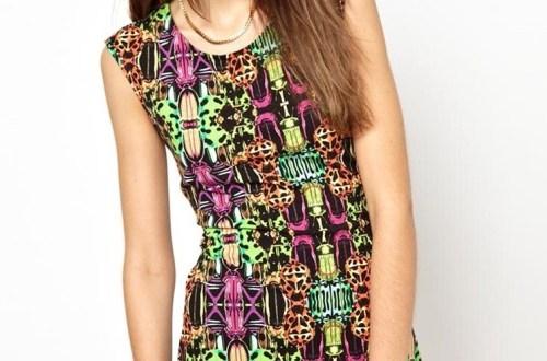 Monki Sleeveless Printed Body-Conscious Dress, $25.46