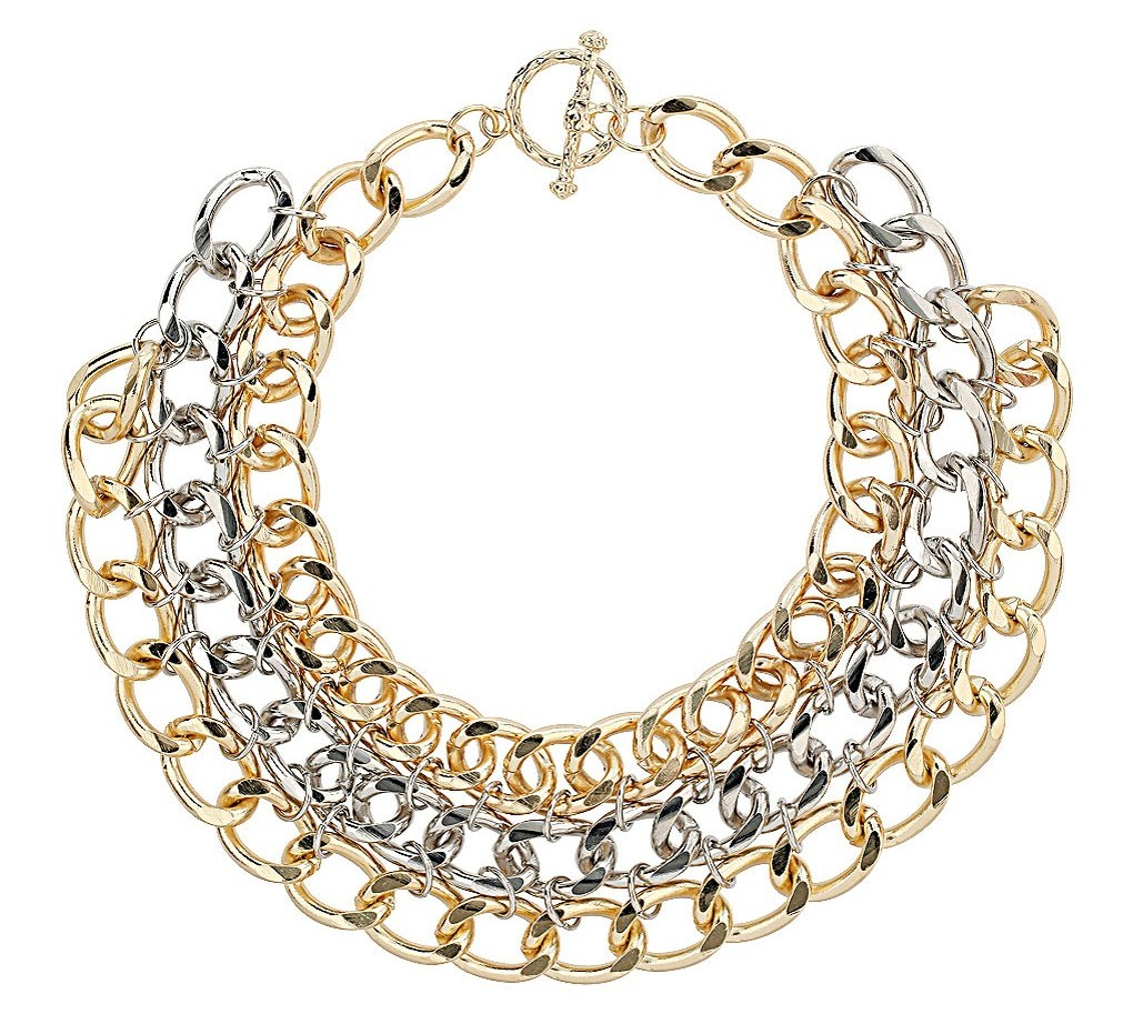 Three Row Chunky Chain Necklace, Topshop, $35