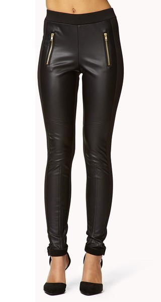 FOREVER 21 Faux Leather Panel Leggings_$20