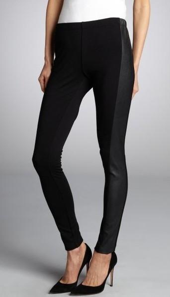Wyatt Black Stretch Faux Leather Side Panel Leggings_$59