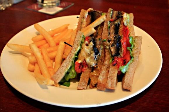 Boscos Grilled Portobello Club Sandwich