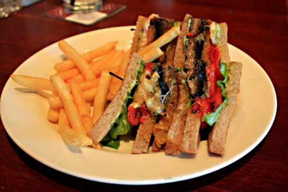 Boscos Grilled Portobello Club Sandwich