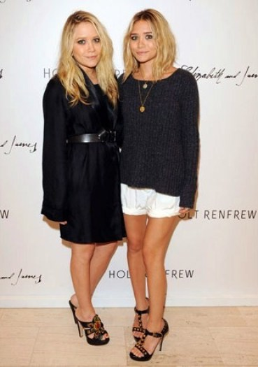 olsen-twins-knit-sweater-white-shorts-black-jacket-elizabeth-and-james