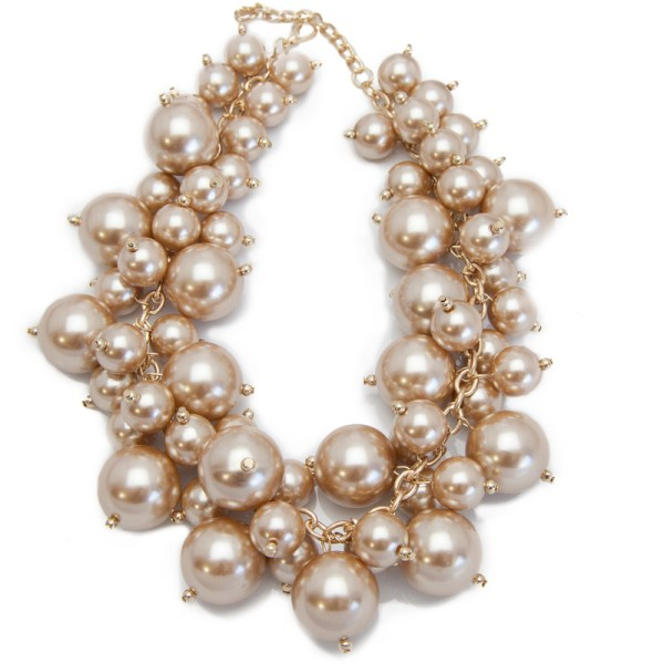 Luxe Champagne Pearl Cluster Necklace, $78