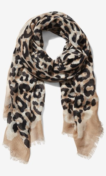 Overlapping Leopard Print Scarf, Express, $29.90