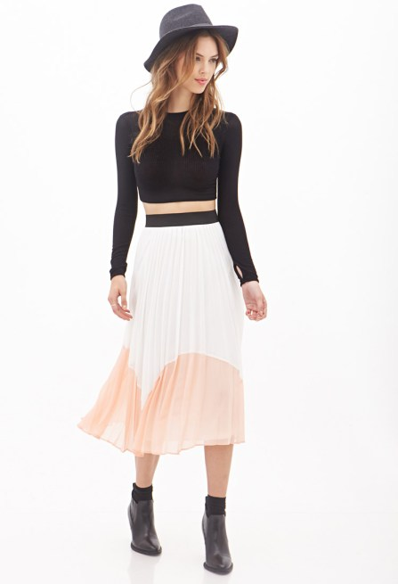 F 21 Accordion-Pleated Colorblock Midi Skirt $30