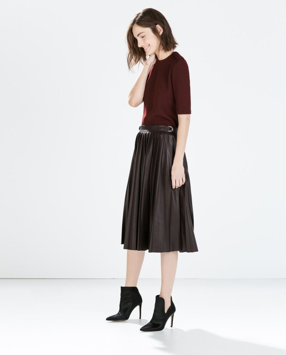Zara faux leather pleated midi skirt $80