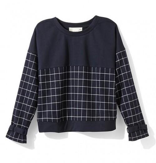 JOA Cropped Windowpane Sweatshirt $29.97