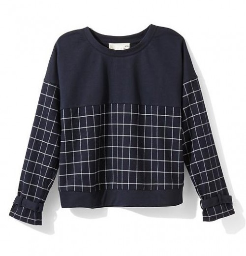 JOA Cropped Windowpane Sweatshirt $29.97