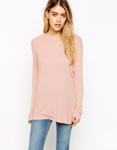 ASOS Slouchy Rib Long Sleeve Top