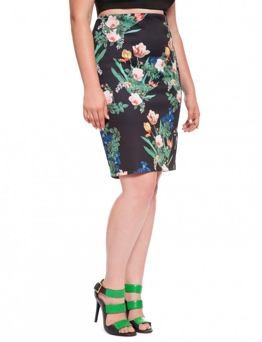 Eloquii Floral Scuba Pencil Skirt_full