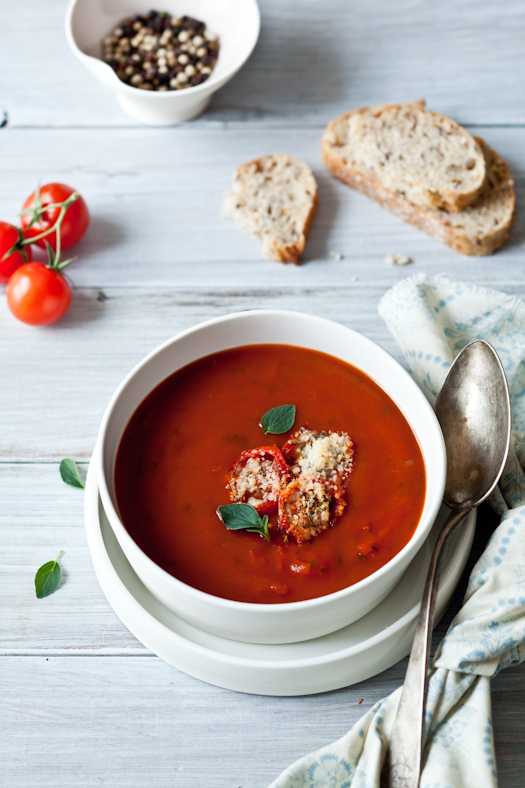 Roasted Tomato Soup and  Tomato Parmesan Croutons