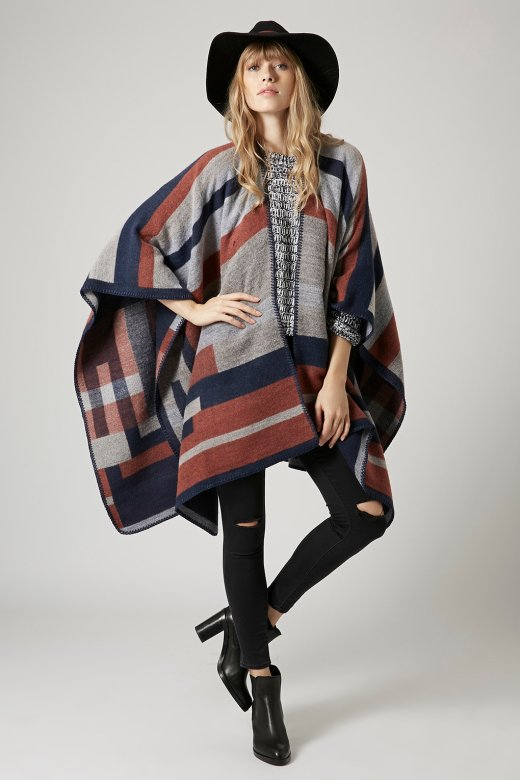 TopShop COLOUR-BLOCK GEOMETRIC PATTERNED CAPE