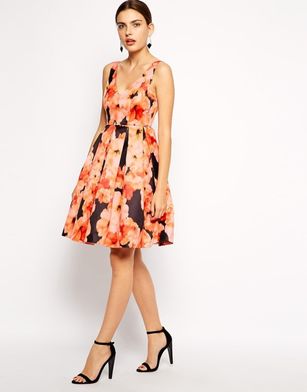 ASOS Bardot Full Dress In Watercolour Floral Print
