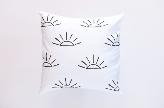 Confetti Riot Shop Black and White Sunrise Print Pillow Cover
