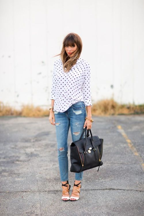 Distresse Denim Polka Dot Top