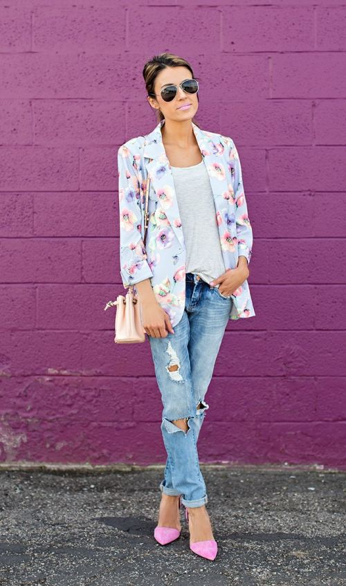 Distressed Denim FLoral Blazer