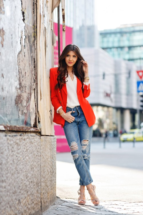 distressed denim-red-blazer-the-mysterious-girl