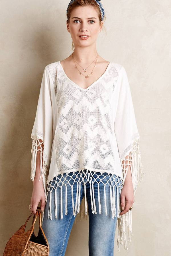 Anthropologie Fringed Lace Cover Up