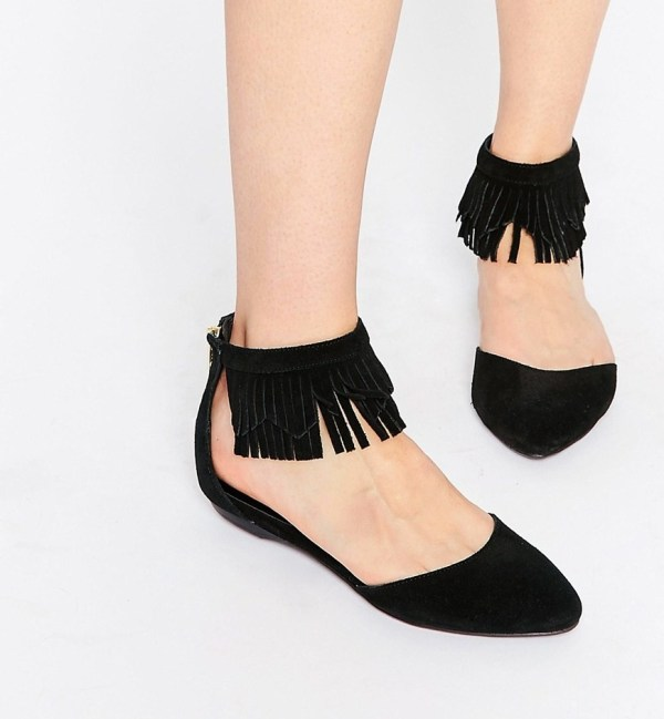 New Look King Leather Fringe Ankle Flat Shoes