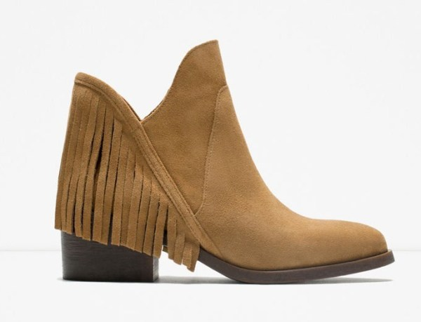 ZARA Leather Flat Bootie With Fringe