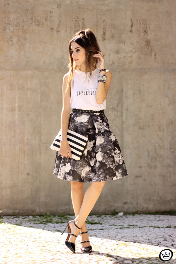 graphic tee floral skirt