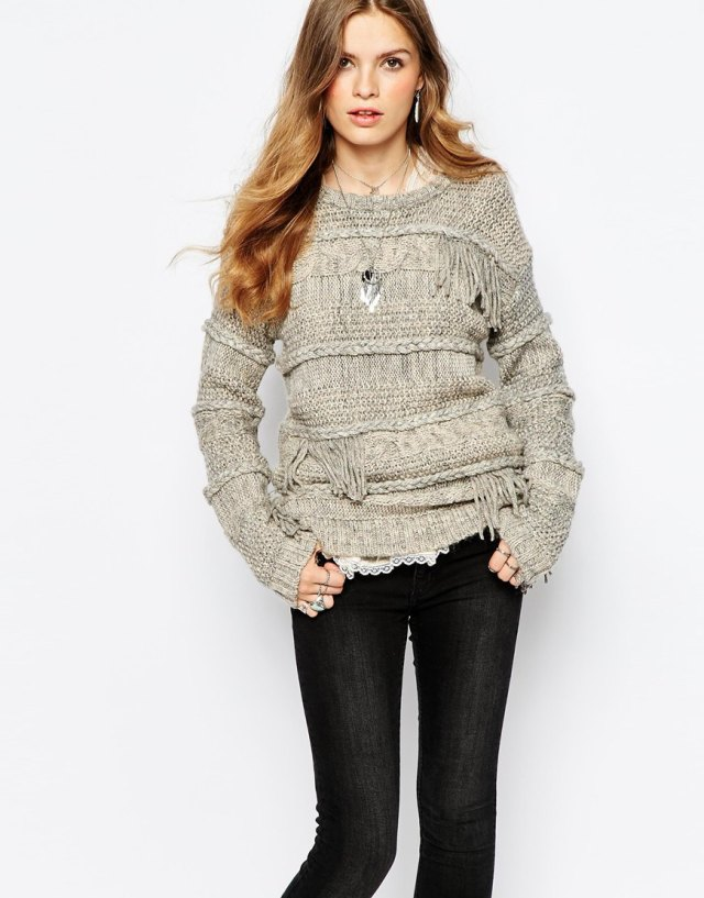 Pepe Jeans Fringe Knit With Long Sleeve