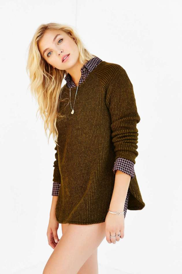 Silence + Noise Zip Back Shirttail Hem Sweater