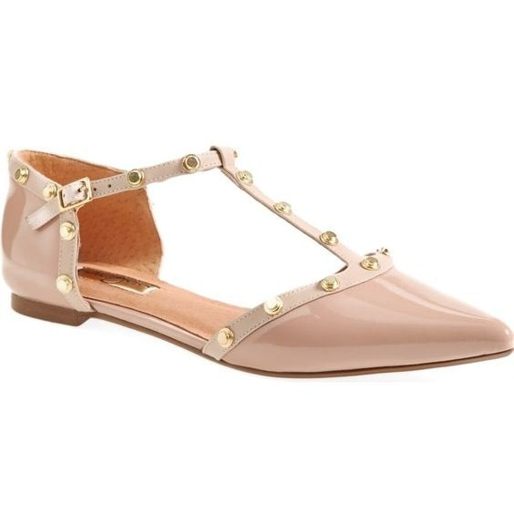 Halogen® 'Olson' Pointy Toe Studded T-Strap Flat