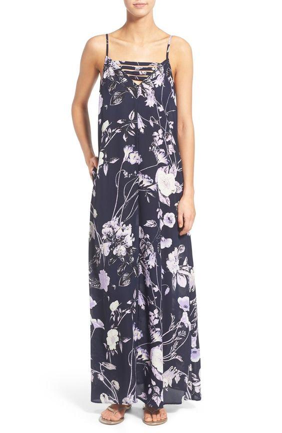 Mimi Chica Floral Print Strap Detail Maxi Dress