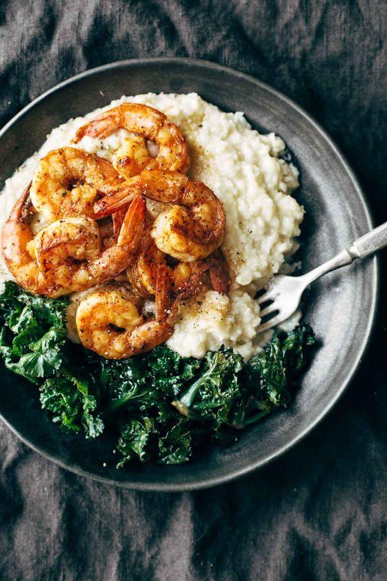 spicy shrimp with cauliflower mash and garlic kale
