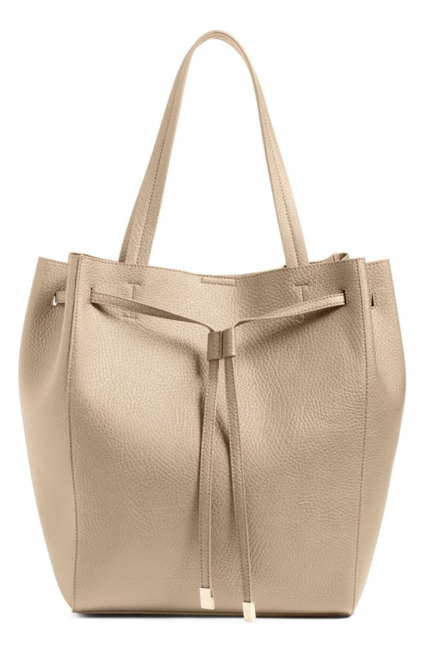 Faux Leather Drawstring Tote