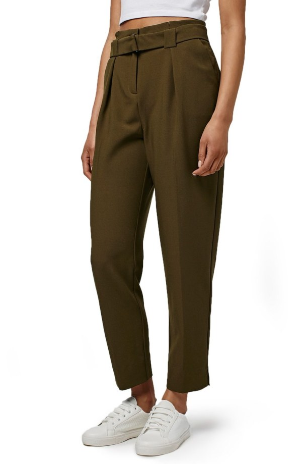 Grosgrain Belted Peg Trousers