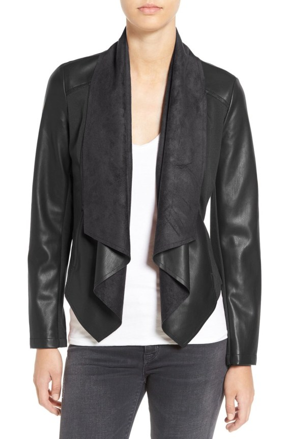 Ana' Faux Leather Drape Front Jacket