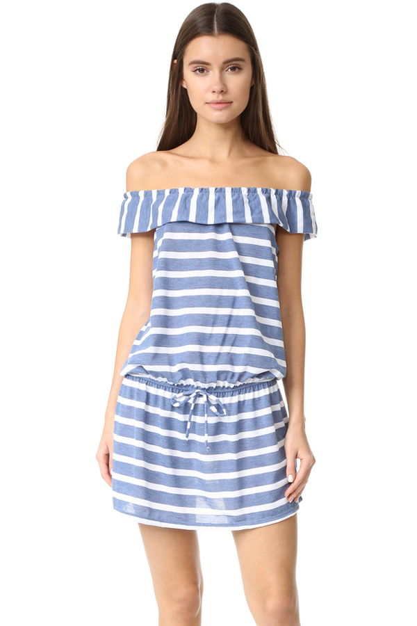 Splendid Off Shoulder Striped Dress