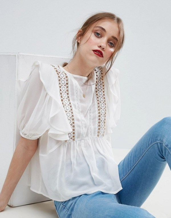 ASOS RUFFLE BLOUSE WITH EYELET DETAIL AND LACE INSERT
