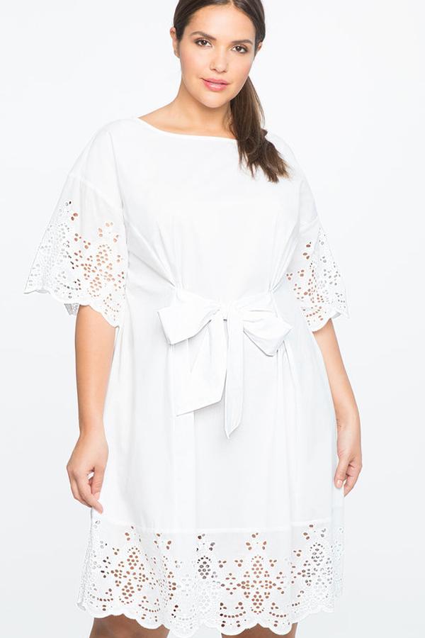 ELOQUII TIE WAIST EYELET DETAIL DRESS