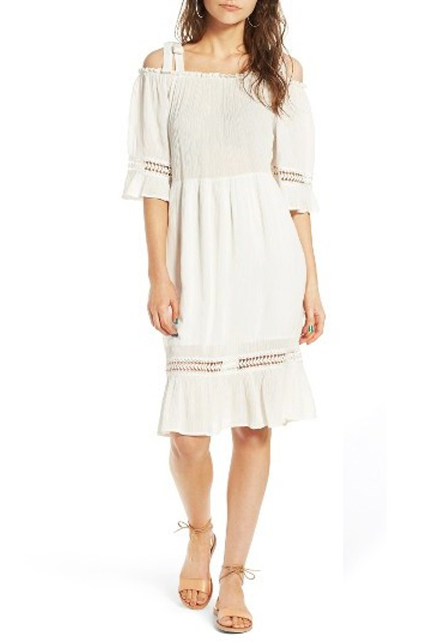 MOON RIVER TIE STRAP GAUZE DRESS