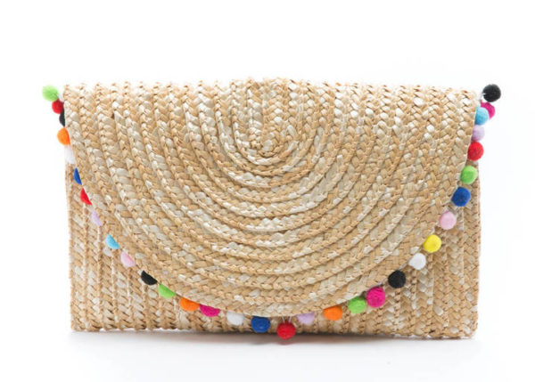 SHIRALEAH POM POM STRAW CLUTCH BAG