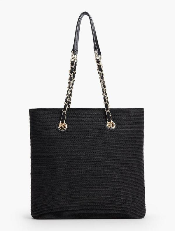 STRAW PREPPY-CHAIN TOTE-BLACK
