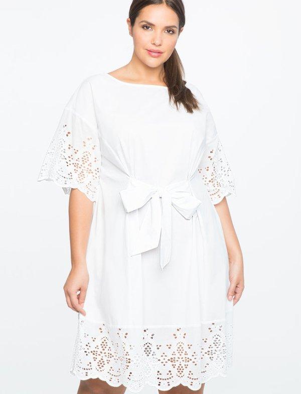 TIE WAIST EYELET DETAIL DRESS