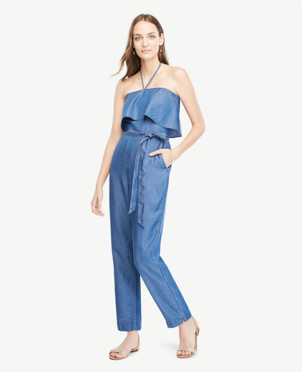 Ann Taylor Chambray Halter Top Jumpsuit
