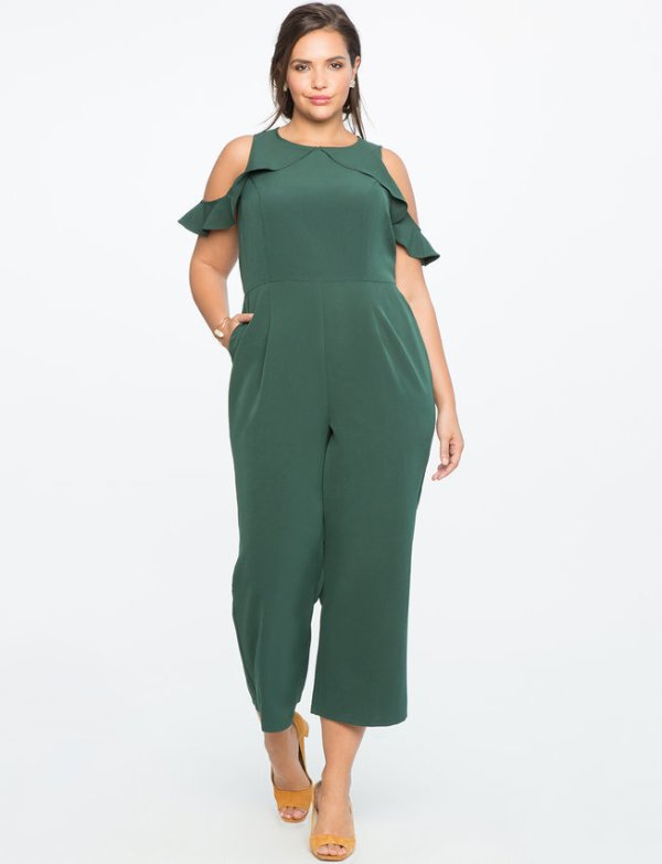Eloquii Cold Shoulder Jumpsuit with Ruffle Detail